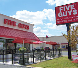 Five guys outside