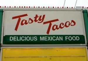 Tasty taco sign