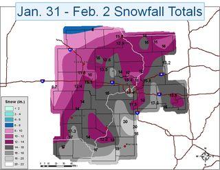 Feb snowfall totals