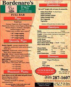 Bordenaro's menu 1