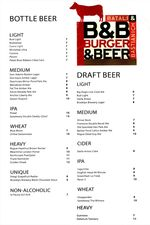B&B Burger Beer Menu