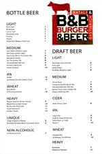 B&B Burger Beer Menu